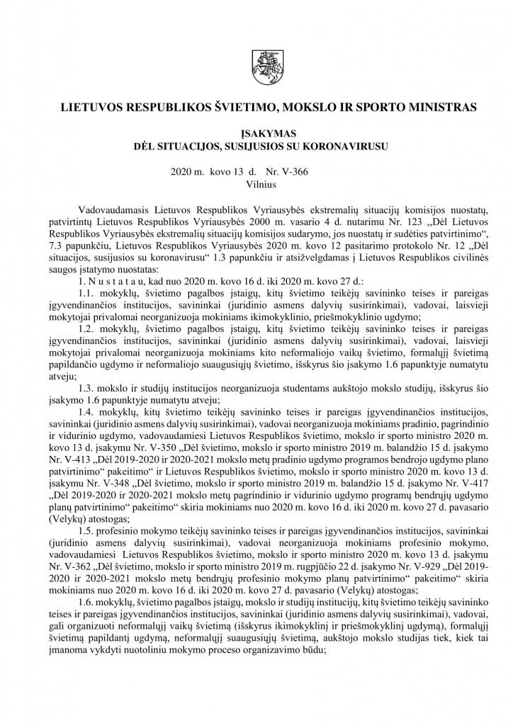 isak DĖL SITUACIJOS, SUSIJUSIOS SU KORONAVIRUSU-1