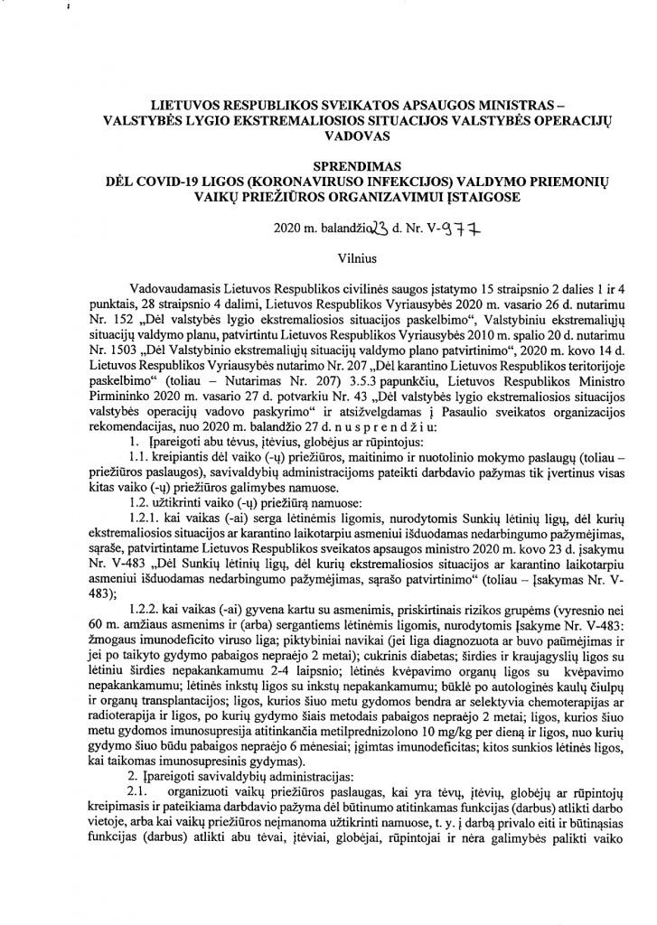 DĖL COVID-19 LIGOS (KORONAVIRUSO INFEKCIJOS) VALDYMO PRIEMONIŲ VAIKŲ PRIEŽIŪROS ORGANIZAVIMUI ĮSTAIGOSE (V-977)_page-0001